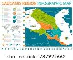 caucasus region map   detailed...   Shutterstock .eps vector #787925662