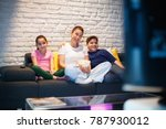 movie night at home with... | Shutterstock . vector #787930012