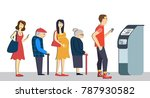 queue at the atm.disgruntled... | Shutterstock .eps vector #787930582