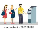 queue at the atm.disgruntled... | Shutterstock .eps vector #787930702