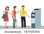queue at the atm.disgruntled... | Shutterstock .eps vector #787930705