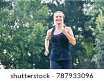 blonde young woman running in... | Shutterstock . vector #787933096