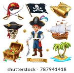 pirates set. boy  treasure... | Shutterstock .eps vector #787941418