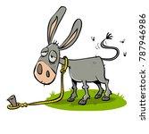 lazy bored donkey    Shutterstock .eps vector #787946986