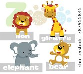 funny animals cartoon vector... | Shutterstock .eps vector #787955845