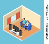flat 3d isometric man and woman ...   Shutterstock .eps vector #787966552