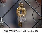 Close Up Of Handmade Golden And ...
