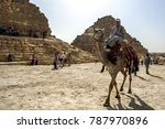Small photo of CAIRO, EGYPT - MARCH 11, 2010 : An Egyptian man riding a camel move past the Pyramids of the Queens which adjoin the Pyramid of Khufu in Giza.