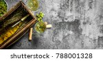 wine background. a bottle of... | Shutterstock . vector #788001328