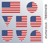 usa flag icon set. american... | Shutterstock . vector #788004658