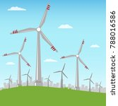 wind turbines against the... | Shutterstock .eps vector #788016586