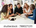 five young people studying with ... | Shutterstock . vector #788027155