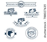 set of fish market labels ... | Shutterstock .eps vector #788027635