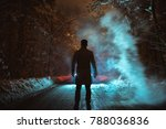 the man stand near the smoke on ... | Shutterstock . vector #788036836