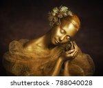 Golden Girl With Gold Flower...