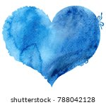 Watercolor Blue Heart With A...