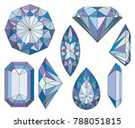 purpule diamond crystals vector ... | Shutterstock .eps vector #788051815