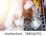open dishwasher with clean... | Shutterstock . vector #788056792