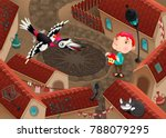 the woodpecker and boy with... | Shutterstock .eps vector #788079295