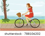 Vintage Girl Bicycling