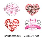 modern romantic happy valentine ... | Shutterstock .eps vector #788107735