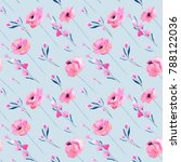 watercolor pink poppies and... | Shutterstock . vector #788122036
