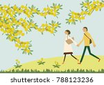 a couple walking with the... | Shutterstock .eps vector #788123236