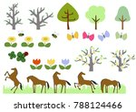 horse herd and spring plant... | Shutterstock .eps vector #788124466
