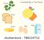 scrambled egg toast recipe   Shutterstock .eps vector #788124712