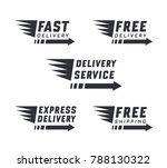 set of delivery text signs and... | Shutterstock .eps vector #788130322