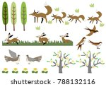 fox and a hare.image of spring. ... | Shutterstock .eps vector #788132116