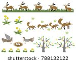 fox and a hare.image of spring. ... | Shutterstock .eps vector #788132122