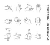 hand drawn hand icons with... | Shutterstock . vector #788132518