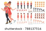figure skating couple. woman... | Shutterstock . vector #788137516