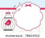 cute bird in bird cage greeting | Shutterstock .eps vector #78814522