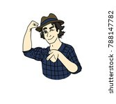 young man in a hat showing...   Shutterstock .eps vector #788147782