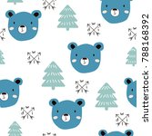 seamless pattern with blue bear ... | Shutterstock .eps vector #788168392