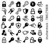 lock and key icon collection  ... | Shutterstock .eps vector #788175808
