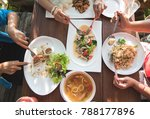 top view dining table with... | Shutterstock . vector #788177896