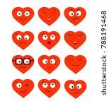 cute cartoon emoticon hearts...   Shutterstock .eps vector #788191468