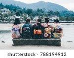 japanese school girls sitting...   Shutterstock . vector #788194912