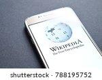 Small photo of JYVASKYLA, FINLAND - JANUARY 4, 2018: Wikipedia logo on smartphone screen. Wikipedia is an online encyclopedia. Illustrative editorial.