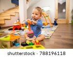 little cute child playing with... | Shutterstock . vector #788196118