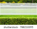 white wooden fence and green... | Shutterstock . vector #788210395