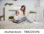 happy mother and child together ... | Shutterstock . vector #788220196