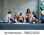 diverse friends in sportswear... | Shutterstock . vector #788222035