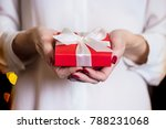 girl holding beautiful  gift... | Shutterstock . vector #788231068