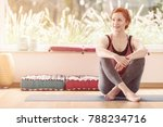 smiling woman sitting with... | Shutterstock . vector #788234716