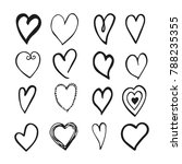 black and white hand drawn set... | Shutterstock . vector #788235355