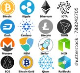 vector illustration of bitcoin  ... | Shutterstock .eps vector #788242705